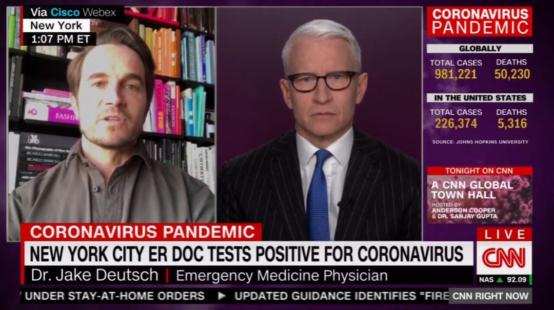 CNN NEWSROOM: DOCTOR BECOMES COVID-19 PATIENT (04-02-2020)
