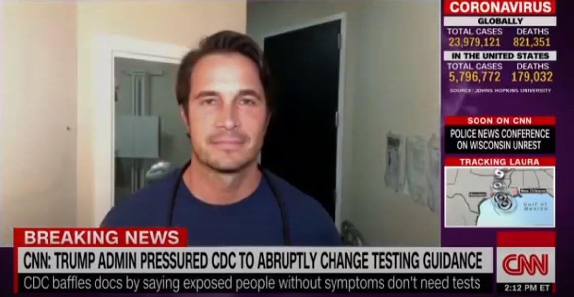"CNN NEWSROOM: CDC ""PRESSURED"" TO CHANGE TESTING GUIDELINES (08-26-2020)"
